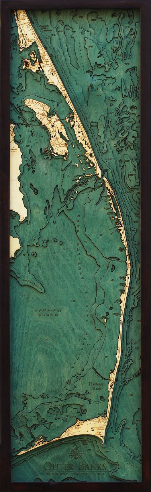 "THE OUTER BANKS, North Carolina 13.5"" x 43"", Laser-Cut, 3-Dimensional Topographic Wood Chart/Lake Art Map"