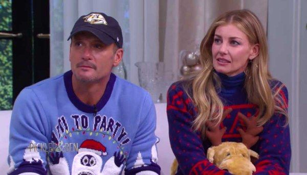 Tim McGraw and Faith Hill Are Very Competitive With Each Other While Wearing Ugly Sweaters and Playing Pictionary