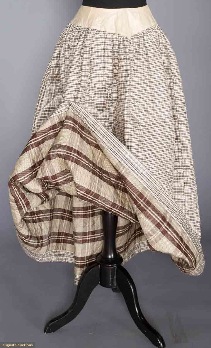 BONED & HAND QUILTED PLAID SILK PETTICOAT, 1840s