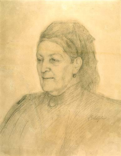 Albert Edelfelt. Late1890s (?) Aurora Karamzin in old age. Pencil drawing.
