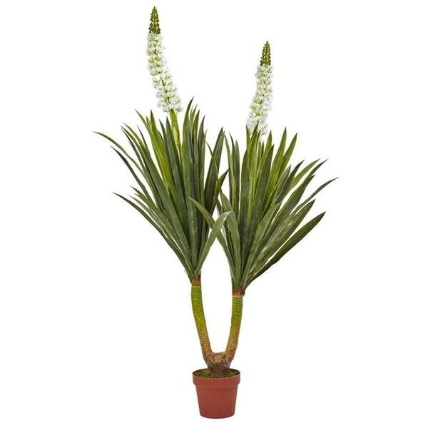 """Nearly Natural 57"""""""" Flowering Yucca Plant ($109) ❤ liked on Polyvore featuring home, home decor, floral decor, fake flower bouquets, faux floral arrangement, nearly natural silk flowers, artificial floral arrangement and fake flower arrangement"""