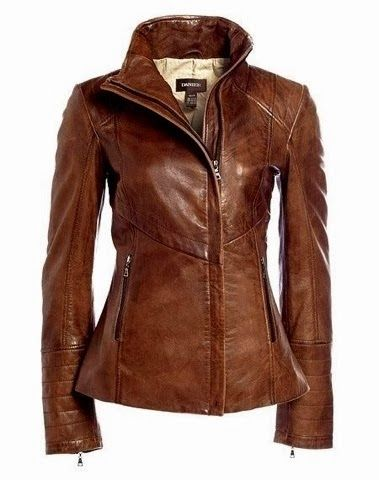 Long Sleeves Brown Leather Jacket
