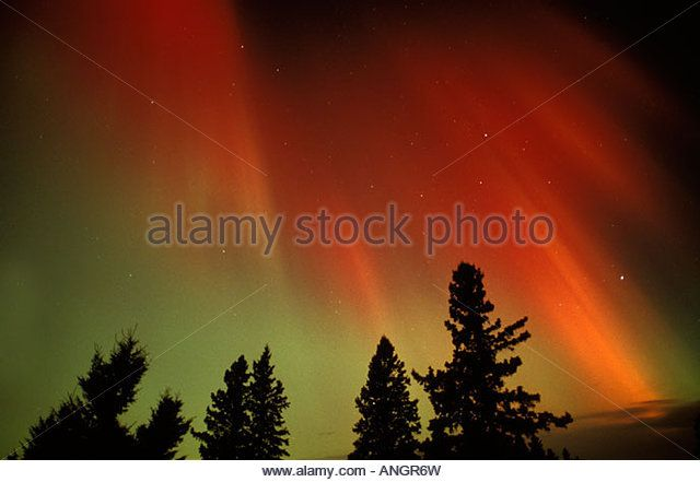 Northern lights or aurora borealis, Tilton Lake, Sudbury, Ontario, Canada. - Stock Image