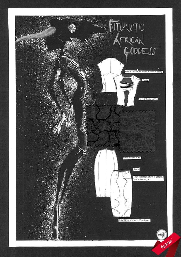 First Year Students' first storyboard designed for a Futuristic African Goddess with innovative futuristic designs and fabrics
