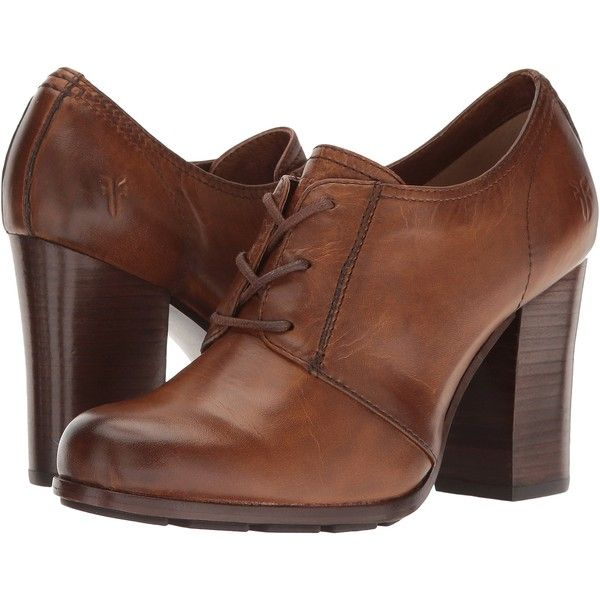 Frye Parker Oxford (Tan Antique Pull Up) High Heels ($150) ❤ liked on Polyvore featuring shoes, oxfords, bronze, lace up oxfords, oxford shoes, lace up high heel shoes, high heel shoes and high heel oxford shoes