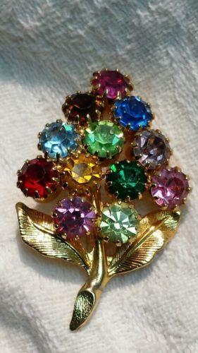 Vintage Rhinestone Flower Brooch FRUIT SALAD Multi Color Stones Gold PRONG SET
