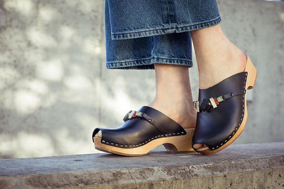 Leather clogs black sandals handmade Sandals Wooden clogs swedish clogs Handmade clogs Gift for women mules wood clog suede leather sandals