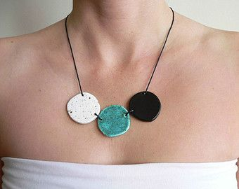 Blue statement necklace ceramic jewelry chunky bib by islaclay