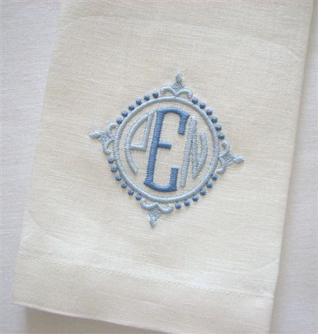 "Ivory linen guest towel with ""Savanna"" monogram in 2 shades of blue - Grace Hayes Fine Linens."