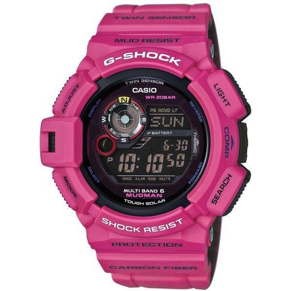 G-Shock Men's Digital Mudman Dark Pink Bracelet Watch 53x50mm... (£265) ❤ liked on Polyvore featuring men's fashion, men's jewelry, men's watches, dark pink, g shock mens watches, mens watch bracelet, mens digital watches, mens bracelet watch and mens watches