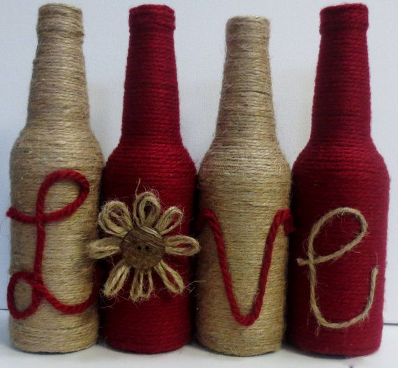 Twine Wrapped Bottles Home Decor Set of Four by OrangeCreek