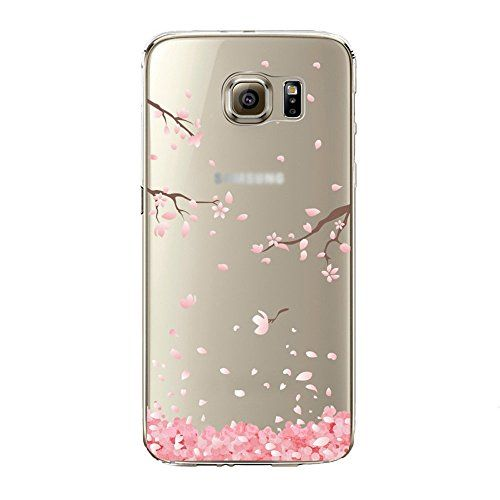 nice Samidy Galaxy S6 Edge Case, Clear Silicone Back Cover for Samsung Galaxy S6 Edge with a Screen protector