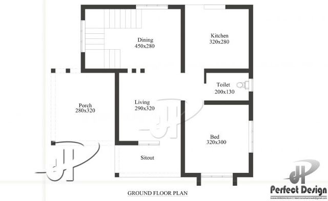 1 Bedroom Small House Plan In 650 Sqft With Future Expansion Options Free Kerala Home Plans House Roof Design Simple House Plans House Floor Plans