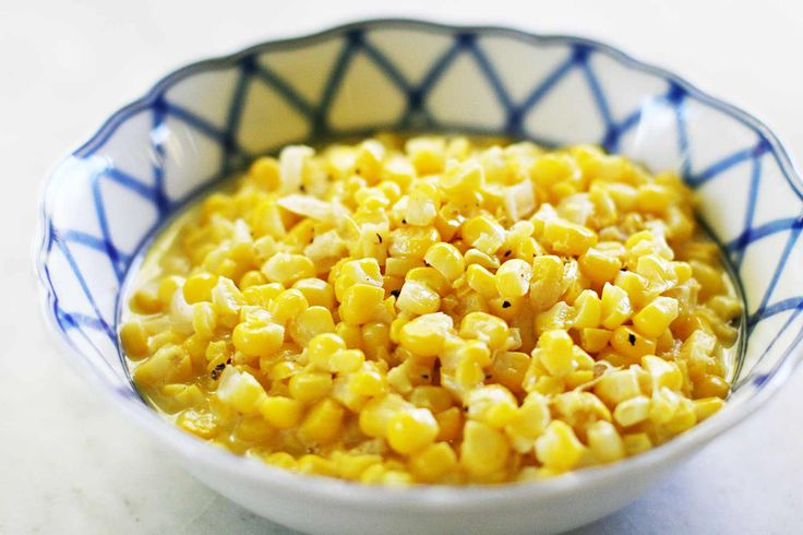 Classic creamed corn! with fresh yellow corn cut straight from the cob, onion, butter, and cream.