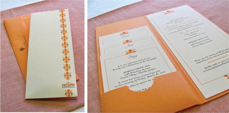 {Corporate Event} Bright Orange and Cream Anniversary Invitations