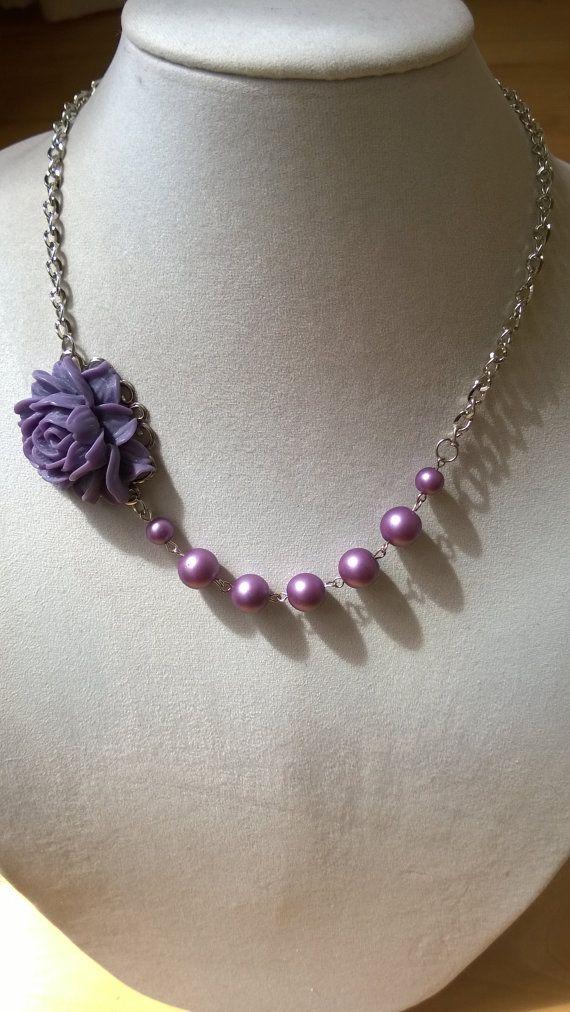 Lilac wedding jewelry flower necklace by LesBijouxLibellule