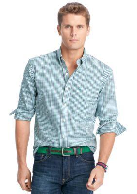 IZOD Verdant  Green Big  Tall Essential Tattersall Shirt
