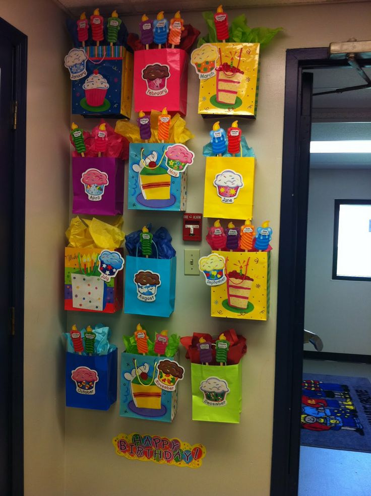Cute idea for birthday bulletin board. Pop a little gift in the bag and your birthday treats are done as well!