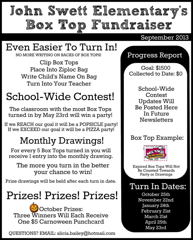 Box Tops Newsletter - Send home to parents