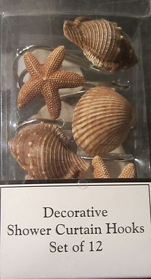 Nautical Seashells Starfish Shower Curtain Hooks