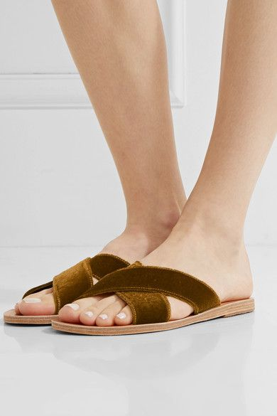 Ancient Greek Sandals - Thais Velvet And Leather Slides - Mustard - IT41