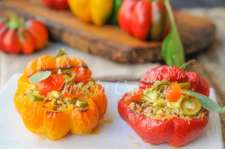 Peperoni ripieni di quinoa e bulgur con verdure vickyart arte in cucina