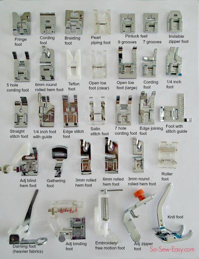 names of sewing machine feet