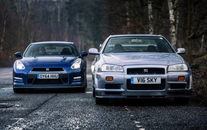 Best car photos: Nissan R34 and R35  http://myspin.com.au/clubs/40/show-post/379-weekly-best-car-photos-3/  #carpics #cars #bestcars #supercars #bestphotos #Nissan #R34 #R35