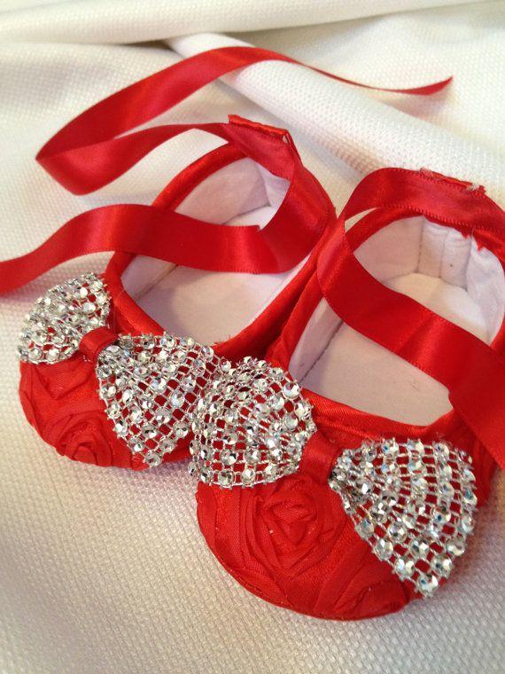 Red Baby shoes with diamond bows por SummerJadeBoutique en Etsy