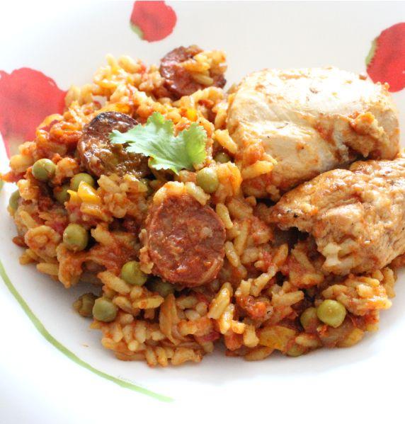 Paella-poulet-et-chorizo