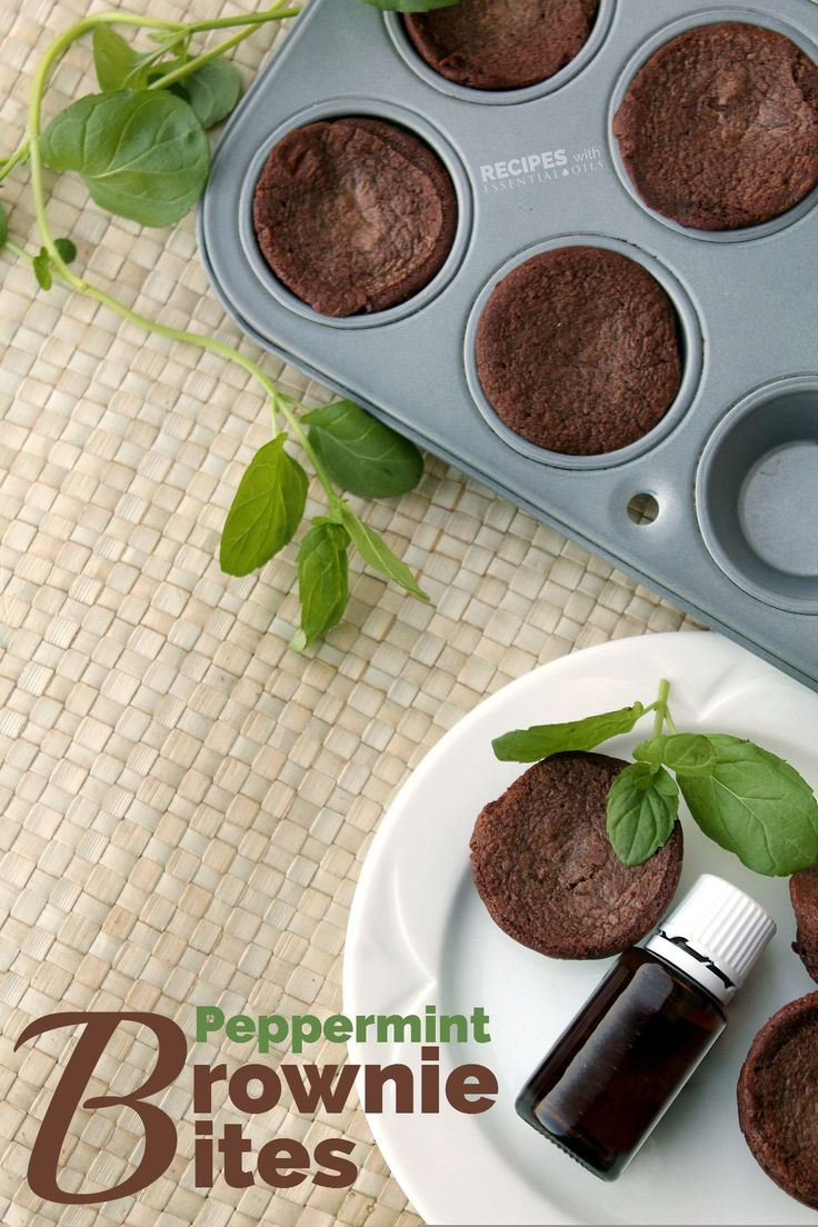 New delicious dessert recipe for Peppermint Brownie Bites from RecipesWithEssentialOils.com