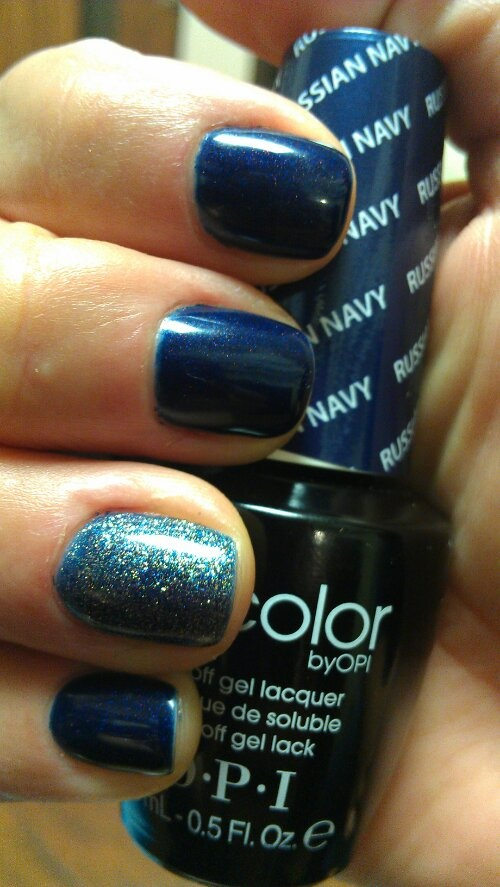 Love this party nail! Russian Navy and On Her Majesty's Secret Service by OPI Gelcolor www.jennyestillore.com