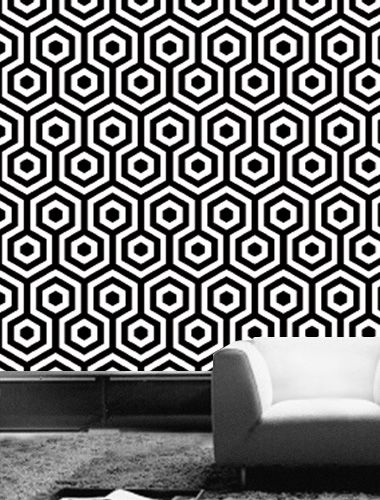 The 10 Coolest Black and White Geometric Wallpapers: Tres Tintas' Hexagano is for you labyrinth lovers with '70s nostalgia.