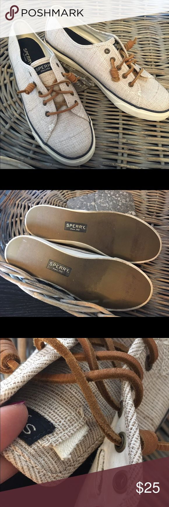 Sperry dock shoes sneakers Preowned great condition. The elastic on either side of each tongue is cut. I assume this means they are a bit looser than a new pair. Sperry Top-Sider Shoes Sneakers