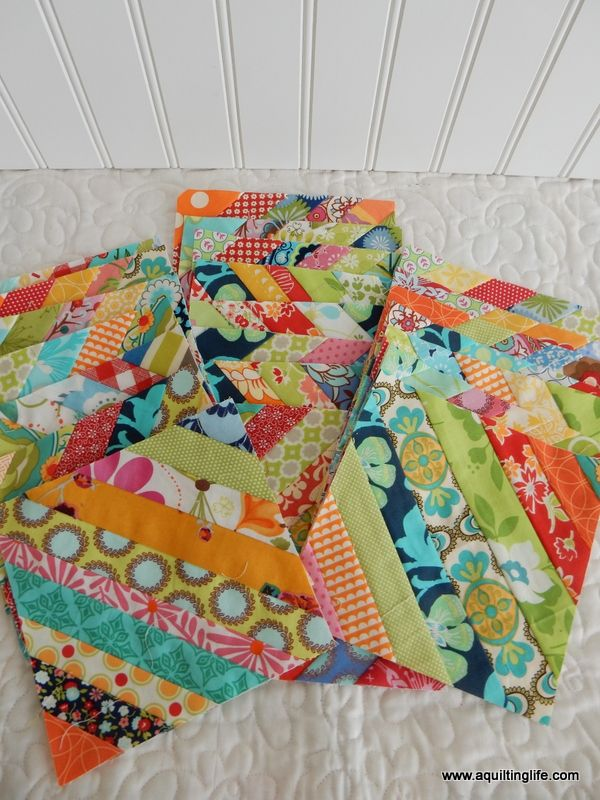 Scrappy String Blocks with tutorial and tips for quickly piecing these fun blocks! #stringblocks #stringquilts #scrapquilts More String Quilt Blocks | A Quilting Life - a quilt blog