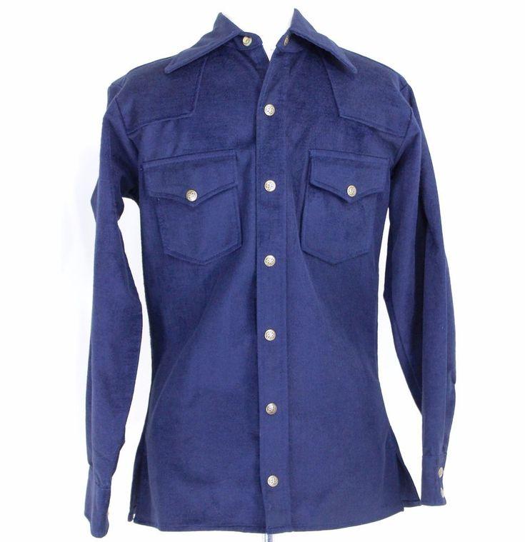 Vintage Eddie Bauer Small Chamois Shirt Blue Snap Front Long Sleeve Big Collar #EddieBauer #Western