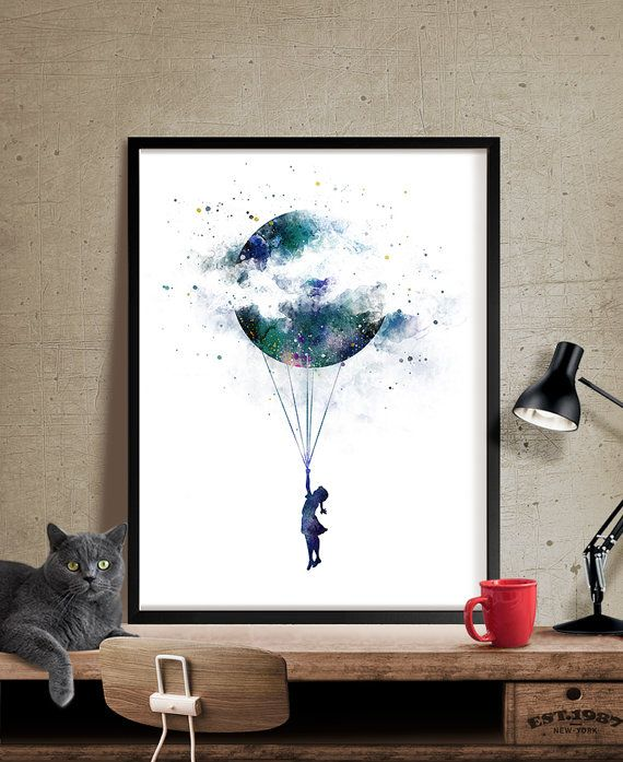 Moon Art Watercolor Wall Art Landscape Giclee Large PRINT