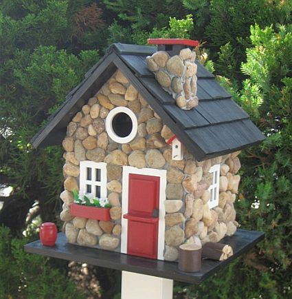 Home Bazaar Hatchling Series Fieldstone Guest Cottage Birdhouse Stone, Whimsical and Novelty Bird Houses at Songbird Garden