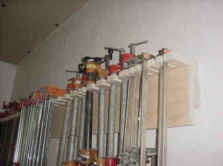 Wood Shop Organization fixtures, tool holders, Tool racks and clamp rack