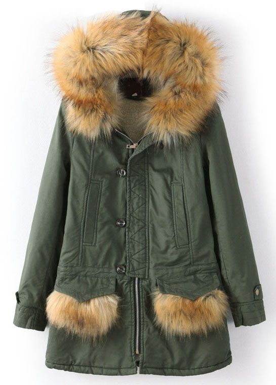 Shop Army Green Faux Fur Hooded Pockets Parka online. Sheinside offers Army Green Faux Fur Hooded Pockets Parka & more to fit your fashionable needs. Free Shipping Worldwide!