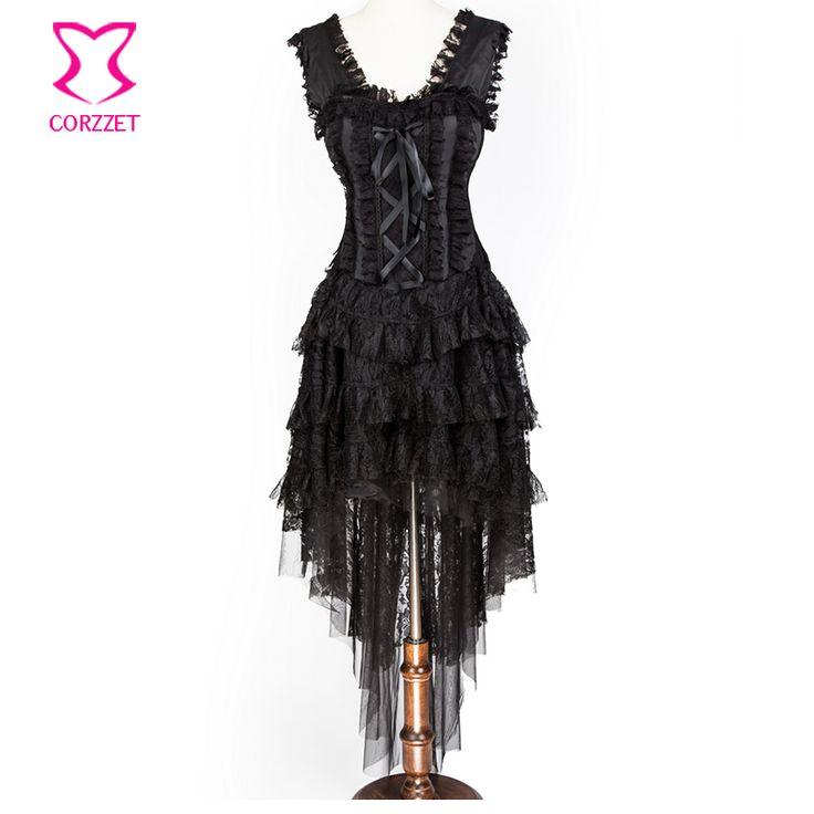 New Chegou Black Lace Bandage Corset Steampunk Saia e Hem Corselet Trajes Das Mulheres Do Partido de Dança Burlesca Espartilho Vestido Longo >>> Check out the image by visiting the link.
