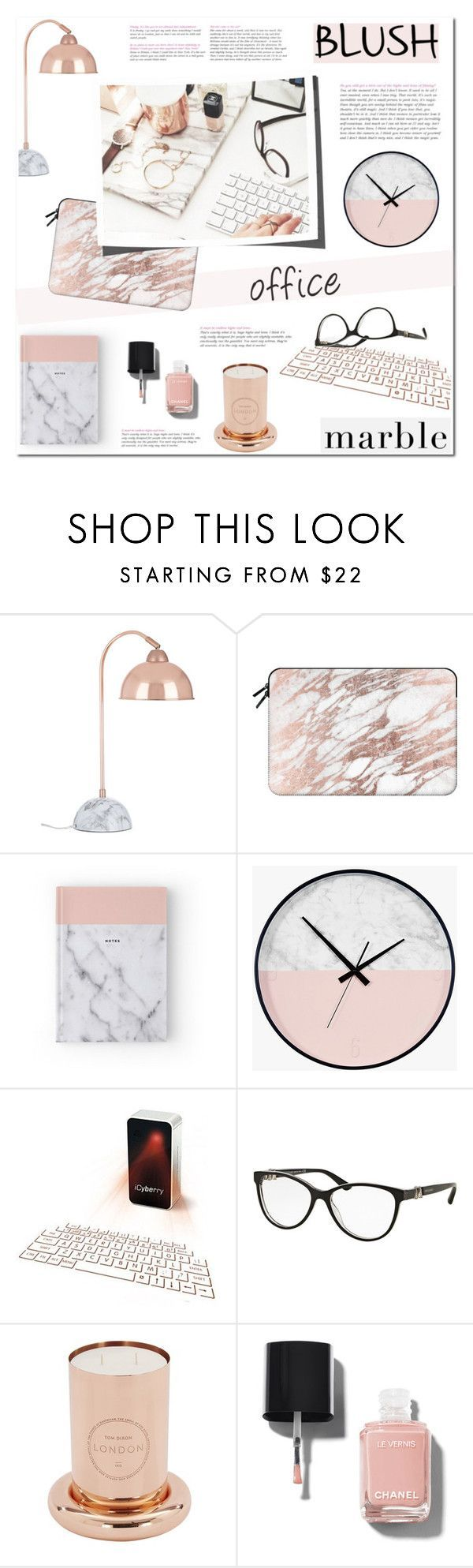 """Blush + Marble Office details"" by helenevlacho on Polyvore featuring interior, interiors, interior design, home, home decor, interior decorating, Casetify, Bulgari, Tom Dixon and Chanel"