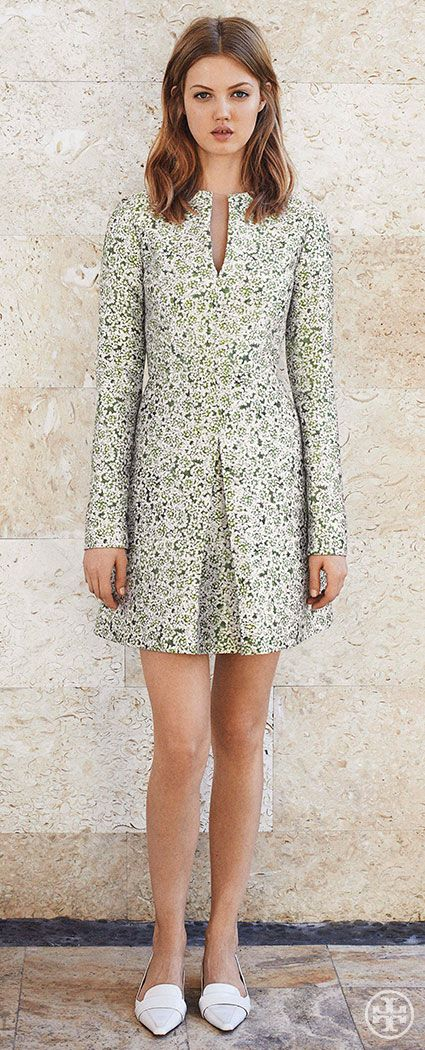 Go from work to cocktails in a Sixties-chic floral-print dress   Tory Burch Summer 2014