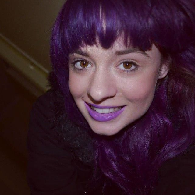 My new @manicpanicnyc lip gloss to match  my manic panic hair!  Loving the purple!  All from @beserk #beserk #manicpanic #purple #purplehair #purplelips #lipgloss #colouredhair