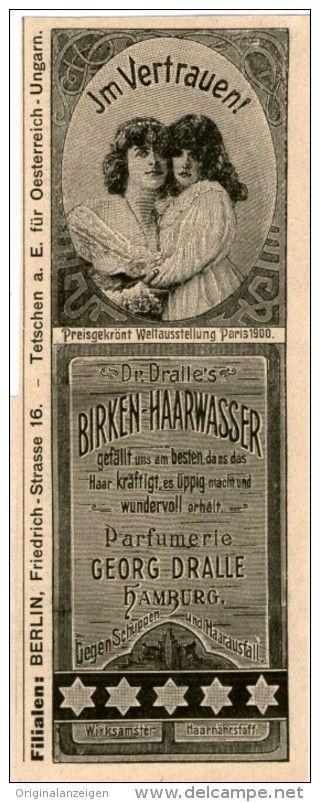 Original-Werbung/Inserat/ Anzeige 1902 : DR. DRALLE´S BIRKEN-HAARWASSER - ca.140 x 45 mm