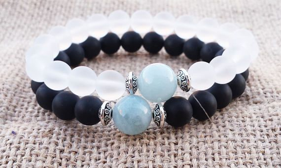 COUPLES Aquamarine Bracelet Couples Gifts Black Onyx White #couplesbracelet #aquamarine #gemstonebracelet #fathersdaygifts