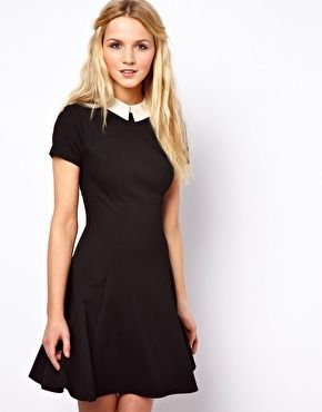 Image 1 of ASOS Skater Dress With Contrast Collar http://us.asos.com/ASOS-Skater-Dress-With-Contrast-Collar/zyq4h/?iid=2807106=15801=0=23=36=-1=Black%2fcream=L0FTT1MvQVNPUy1Ta2F0ZXItRHJlc3MtV2l0aC1Db250cmFzdC1Db2xsYXIvUHJvZC8.