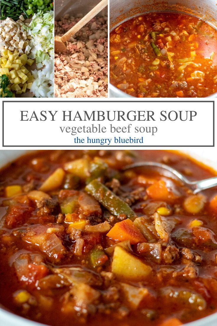 Vegetable Beef Soup With Ground Beef The Hungry Bluebird Recipe In 2020 Vegetable Beef Soup Homemade Vegetable Beef Soup Soup With Ground Beef