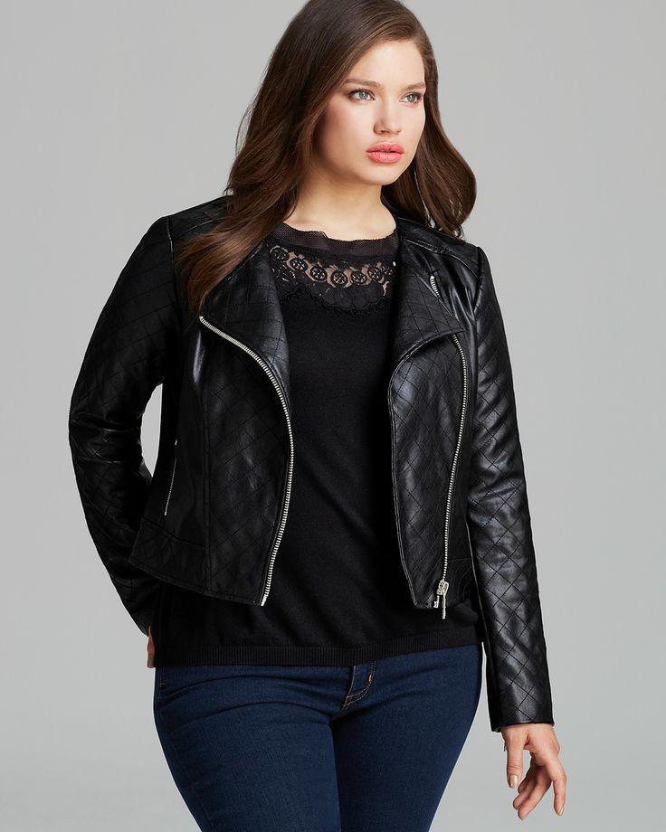 a7869b45125 Michael Kors Michael Plus Size Faux Leather Moto Jacket In Black Lyst