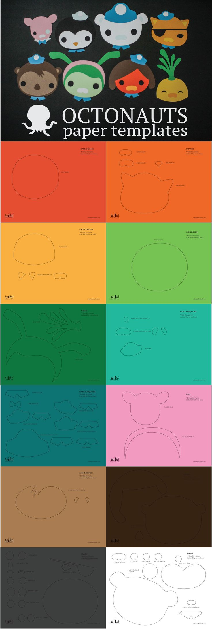 12 Free Printable Templates to create 8 Octonauts characters - Peso, Captain Barnacles, Kwazii and the whole gang. Each PDF is in black and white designed to print on colored card stock with individual pieces labeled (Kwazii's eyes, Peso's hat, etc). Use them as fun decor for an Octonauts themed birthday party!